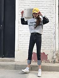 versare stati 2 segno qing yun 2017 modelli primavera vita jeans dritto polsini neri di buona qualità