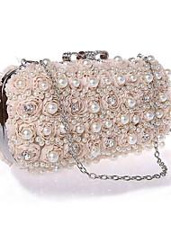 Women Bags Spring Summer Fall Winter All Seasons Chiffon Evening Bag Imitation Pearl Lace Crystal/ Rhinestone Flower for Wedding