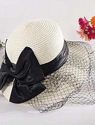 Women's Sweet Straw Sun Beach Wide-brimmed Hat Bowknot Bow Casual Summer Khaki Beige White Pink Navy Blue