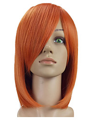 cheap -Woman Side Bang Medium Length Straight  Synthetic Hair Orange Wig 3