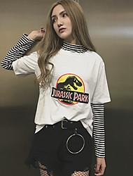 T-shirt do passeio do sinal + bottoming longo-sleeved listrado no parque jurassic do parágrafo do ano novo 2017 imprime t