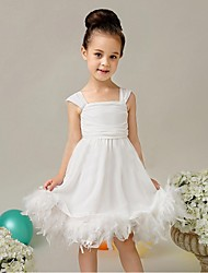 Ball Gown Knee Length Flower Girl Dress - Organza Sleeveless Spaghetti Straps by YDN