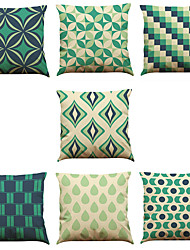Set of 7 Abstract Geometry Linen  Cushion Cover Home Office Sofa Square  Pillow Case Decorative Cushion Covers Pillowcases As a Gift