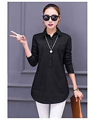 2017 Spring and Autumn Korean loose white shirt bottoming casual and simple long-sleeved shirt Korean Fan on clothes Girls long section