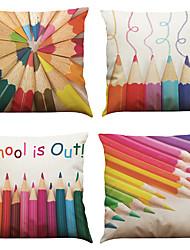 Set of 4  Color Pencils Pattern  Linen Pillowcase Sofa Home Decor Cushion Cover