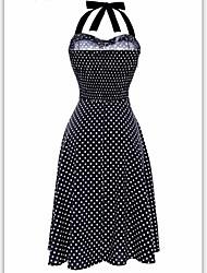 Linea A Vestito Da donna-Da giorno Appuntamento Sensuale A pois Fino a metà polpaccio Senza maniche Non disponibile Estate A vita alta