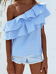 cheap -Women's Daily Going out Cute Street chic Summer Shirt,Striped Boat Neck Sleeveless Nylon
