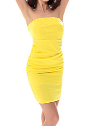 Women's Formal Party Sexy Simple Bodycon DressSolid Strapless Mini Sleeveless  Summer Fall High Rise