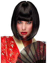 cheap -Women Synthetic Wig Short Straight Black Middle Part Bob Bob Haircut Natural Wigs Costume Wig