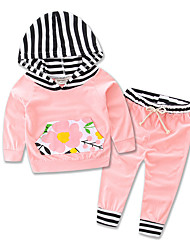cheap -Girls' Daily Sports Going out Striped Floral Clothing Set, Cotton Polyester Spring Fall All Seasons Long Sleeves Floral Stripes Blushing