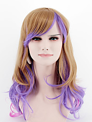 cheap -Women Synthetic Wigs Japan and South Korea fashion brown purple mixed color long side bangs wavy Heat Friendly Fiber wig