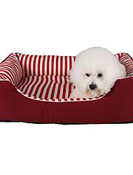 cheap -Cat Dog Bed Pet Mats & Pads Stripe Soft Black Ruby