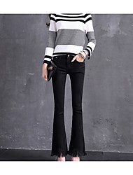 Spring fringed edges flared trousers jeans female was thin black stretch pants pants tide nine points Weila
