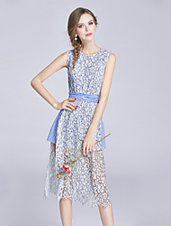 EWUS/Women's Going out Casual/Daily Beach Simple Cute Sheath DressPrint Round Neck Midi Sleeveless Cotton Spring Summer Mid Rise Micro-elastic
