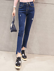 Sign spring new high waist jeans female student was thin Slim pencil pants casual irregular holes