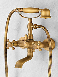 Antique Centerset Handshower Included Ceramic Valve Two Holes Single Handle Two Holes Antique Copper , Bathtub Faucet