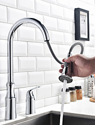 Contemporary Art Deco/Retro Modern Tall/­High Arc Pull-out/­Pull-down Standard Spout Widespread Rain Shower Pullout Spray Thermostatic