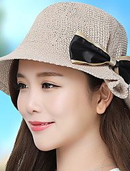 Women 's Summer Fisherman Leisure Handmade Hook Wool Solid Color Dome Bow Foldable Tourism Basin Cap