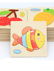 cheap -Educational Flash Cards Jigsaw Puzzle Wooden Puzzles Pegged Puzzles Educational Toy Toys Fish Animals DIY Kid's Children's Kids 1 Pieces