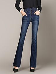 abordables -Mujer Tiro Alto Ajustado a la Bota Vaqueros Pantalones - Un Color