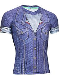 Men's Running T-Shirt Short Sleeves Quick Dry Anatomic Design Ultraviolet Resistant Moisture Permeability High Breathability (>15,001g)