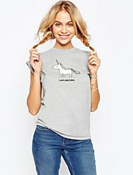 ebay aliexpress donne della maglietta girocollo manica corta calda nuovo modello animale unicorno Top stampati