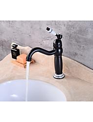 abordables -Robinet lavabo - Moderne Bronze huilé Set de centre Soupape céramique