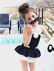 abordables -Fille Volants Couleur Pleine Mosaïque Maillots de Bain, Coton Blanc Noir