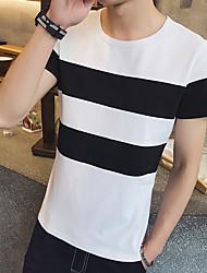 Super Sommer neues schwarz-weißes gestreiftes Kurzarm-T-Shirt m Cafe