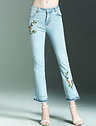 Dámské Jednoduchý Šik ven Není elastické Džíny Kalhoty Štíhlý Mid Rise Výšivka Jednobarevné