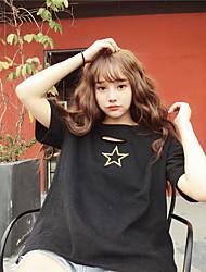 O t-shirt do harajuku do furo do sinal bordou o teee das estrelas