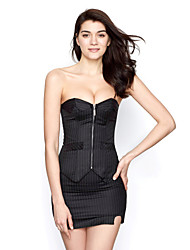 cheap -Black Office Wear Cotton Plastic Boned Corset Busiter With Stripe, Mini Skirt and G-string Set Sexy Lingerie Shaper
