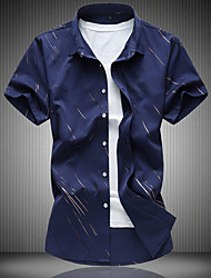 cheap -Men's Casual Cotton Slim Shirt Print Classic Collar