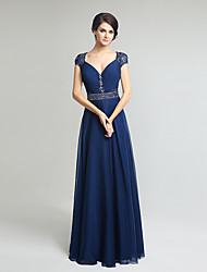 Sheath / Column V-neck Knee Length Chiffon Mother of the Bride Dress with Beading