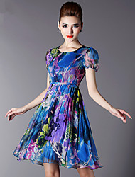 Women's Wedding Daily Street Vintage Active A Line Dress,Florals Round Neck Above Knee, Mini Short Sleeves N/A Summer High Rise Inelastic