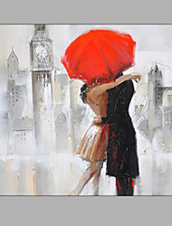 Hand-Painted Abstract Embrace Lovers In The Rain Oil painting Ready To Hang Modern One Panels Canvas Oil Painting For Home Decoration