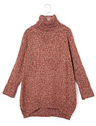 billige -Dame Gade Langærmet Pullover - Ensfarvet Rullekrave