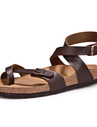 Men's Sandals Gladiator Light Soles Summer Fall Cowhide Casual Outdoor Flat Heel White Black Dark Brown Flat