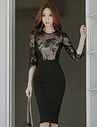 Women's Business Engagement Evening Party Prom Office & Career Sexy A Line Dress,Solid Color Round Neck Knee-length Half Sleeves Lace