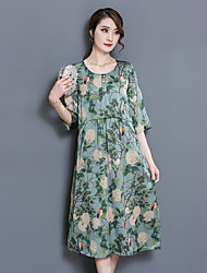 cheap -Women's Chinoiserie A Line Loose Dress - Floral Vintage Style Print Floral Style High Rise