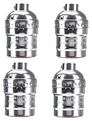 4 Pcs E26/E27 Socket Screw Bulbs Metal Shell Medium Base Edison Retro Pendant Lamp Holder Without Switch and Cord 110-240V