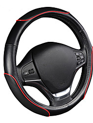 AUTOYOUTH Car Steering Wheel Cover Sporty Wave Pattern with Red Line Stitching M size Fits 38cm/15 Diameter Car Accessories