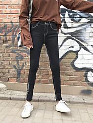 primavera segno nuovi jeans neri piedi femminili nove punti pantaloni slim matita personalità dei pantaloni dei pantaloni Burr
