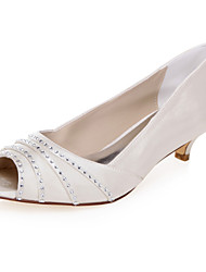 Недорогие -Жен. Обувь Ткань Весна Лето Удобная обувь Сандалии На низком каблуке Открытый мыс Лак Цепочки для Свадьба Для праздника Для вечеринки /