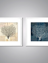 cheap -Framed Canvas Print Abstract Floral/Botanical Traditional Realism,Two Panels Canvas Square Print Wall Decor For Home Decoration