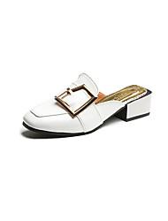 Недорогие -Для женщин Сандалии Удобная обувь Полиуретан Весна Удобная обувь На толстом каблуке Блочная пятка Белый Черный Красный 7 - 9,5 см