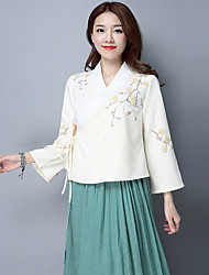 cheap -Women's Daily Wear Classic & Timeless Spring Fall Blouse,Solid Color V-neck Long Sleeves N/A Medium