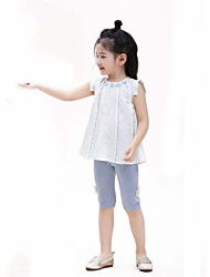 cheap -Girls' Daily Solid Blouse, Cotton Linen Summer White