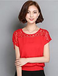 знак 2016 лета новой широкая песни Лейси полая вокруг шеи футболка женщина корейского шифона рубашка большого размер небольшая рубашка