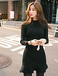New Women Korean Slim thin long-sleeved fishtail flounced bottoming package hip knit jumpsuit